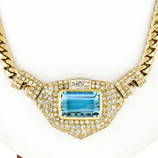 18K Gold 28.95ctw GIA Bezel Aquamarine & Pave Diamond Chain Statement Necklace