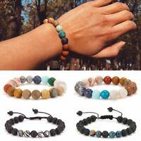 Natural Stone Beaded Bracelet Lava Rock Planets Charm Bangle Women Men Jewelry