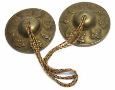 Old ancient antique Bronze metal cymbals religious musical percussion. i46-83