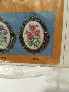 The Creative Circle Crewel Embroidery Kit No. 758 Meadow Beauties Pink Flowers