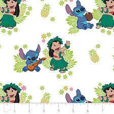 Disney Lilo & Stitch Ohana White Premium 100% Cotton fabric by the yard
