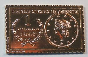 1849 United States Liberty Head 1 Dollar Numistamp Medal Coin 1973 Mort Reed