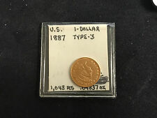 1887 GOLD LIBERTY ONE DOLLAR $1  TYPE 3 UNC