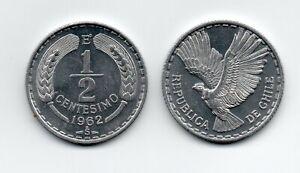 Chile 1962 1/2 centesimo aluminum KM 192 UNC