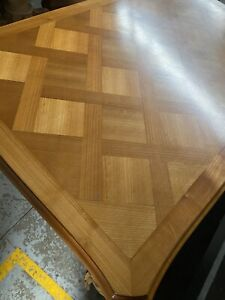 French Vintage Marquetry Cherrywood Extension Table. Extension Leaves Either End