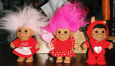 VINTAGE LOT 3 VALENTINE'S DAY RUSS TROLL DOLLS DEVIL, LOVE, & HUGS
