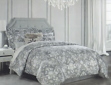 Tahari 3 pc Duvet Cover Set Queen Floral Scroll Grey Beige White Silver Metallic