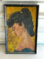 Vintage 1950's Portrait Young Woman Crayon on Cardboard folk art signed