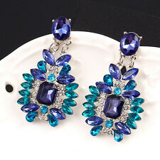 1Pair Luxury Women Crystal Rhinestone Big Dangle Earrings Ear Stud Jewelry WL