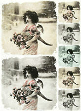Carta di riso per Decoupage Decopatch Scrapbook Craft sheet Angelo con fiore