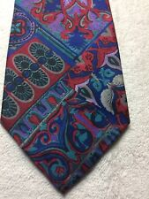 MR ITALY MENS TIE BLUE RED GREEN PURPLE 3.75 X 59