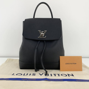 Louis Vuitton Calfskin Leather Lock Me Backpack in Black