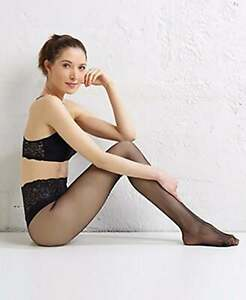 Women's Black Commando Sexy Sheer Lace Top Tights Size Small - Extra Large