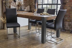 Caro Solid Sheesham Wood Luxury Dining Table With 4 Black Cyra Chairs