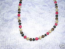 """NEW SURF BEADS RED & BLACK MULTI COLOR COCO BEADS 16""""  BEADED CHOKER NECKLACE"""