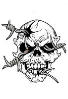 SCARY Evil BARB WIRE SKULL Vinyl SKATEBOARD Sticker SURFBOARD Decal by AFTERMATH