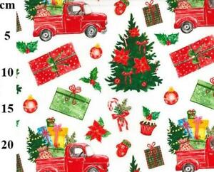 Christmas Red Truck Tree Gifts Mittens Baubles Holly Candy Cane Cotton Fabric