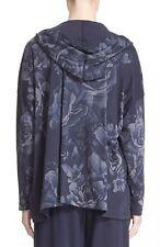NWT Eskandar NAVY FLORAL-PRINT Medium Weight Pima Cotton Hooded Jacket O/S