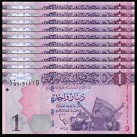 Lot 10 PCS, Libya, Lybien, 1 Dinar, 2013, P-76, Banknote, UNC