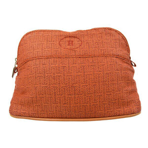 HERMES Bolide Pouch MM Pouch Hand Bag Purse Abaca Cotton Brown Authentic 41438