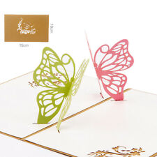 3D Pop Up Two Butterfly Greeting Cards Christmas Birthday Valentine Invitation