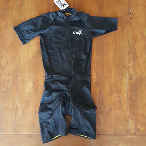 Sparx Mens Large Short Sleeve Cycling Skinsuit Speedsuit Racesuit  L Black
