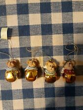 4 Boyds Bears Resin Angel Jingle Bells Collectible Christmas Tree Ornaments