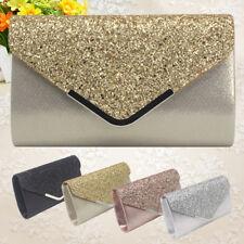 Women Girl Envelope Clutch Bag Solid Color Glitter Purse Party Delicate Handbag