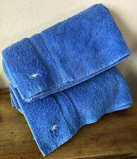 VINTAGE RALPH LAUREN POLO PONY BLUE (2) BATH TOWELS MADE U.S.A.!