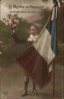 WWI Era France Patriotic - Boy w/ Flag & Flowers Tinted Real Photo Postcard
