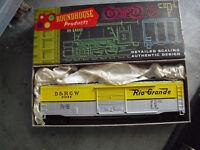 Vintage HO Scale Roundhouse Rio Grande D&RGW 50' Box Car MIB 1201
