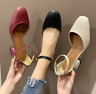 Women Ankle Strap Mary Jane Square Toe Mid Heels Hollow Chunky Sandal Party Shoe