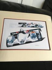 "Large Mounted BMW V12 LMR Print Art Racing Car KW Davies 16"" By 12"""