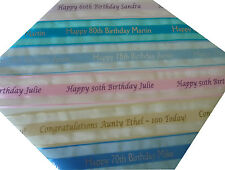 30th 40th 50th Birthday Personalised ORGANZA Ribbon for cake decorations, gifts