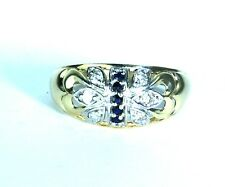 14K Solid Yellow Gold sapphire Cluster Diamond Ring 3.5 g,Ring size 8, New