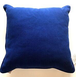 """RALPH LAUREN Pillow 22"""" LRL MONOGRAM Twill Cotton Blue Feather Fill Insert NWT"""