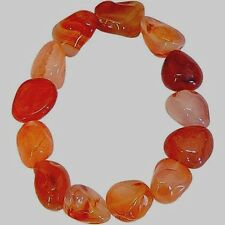 Carnelian Tumbled Stone Bracelet: 6-8 mm stones (Reiki Healing Chakra) US Seller