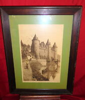 Framed Antique 1890 Engraving - Castle - London -Pencil Signed Lawrence Phillips