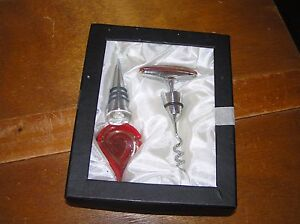 Gently Used Red 7 Gold Swirly Fused Art Glass & Stainless Steel Bottle Stopper