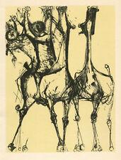 "Marino Marini ""Cavalier et chevaux, fond creme"""