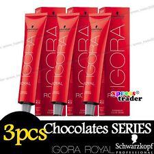 3 X Schwarzkopf Igora Royal Permanent Colour Hair Dye 60ml Chocolates 3 X 3-65 Dark Brown Auburn Gold