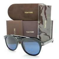 New Tom Ford Newman sunglasses FT0515 01V 53mm Shiny Black Silver Blue AUTHENTIC