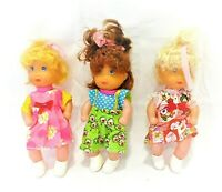 Vintage Lot of 3 Cititoy Plastic Dolls Rubber Heads Blonde Brunette Redhead 1999