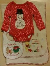 Baby's First Christmas Lot - Blanket, Bib, and 6-9 Month Bodysuit