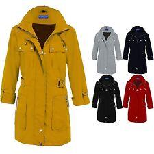 Women's Detachable Hood Turn Up Long Sleeve Ladies Shower Proof Jacket Coat