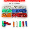 200Pcs European Car Fuses Torpedo Type Fuse Assorted Kit 5A-25A New