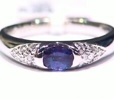 Vintage .63CT Platinum Natural Cut White Diamond Alexandrite Engagement Ring