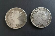 More details for 1709 and 1817 halfcrowns - queen anne & george iii