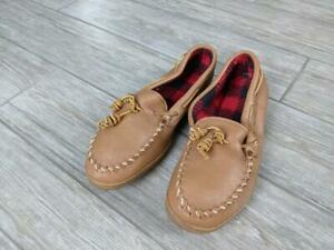 mens MINNETONKA moccasin slippers 10 leather LINED shoes