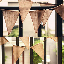 Wedding Party Decor Vintage Jute Hessian Burlap Flags Chic Banner Bunting Craft